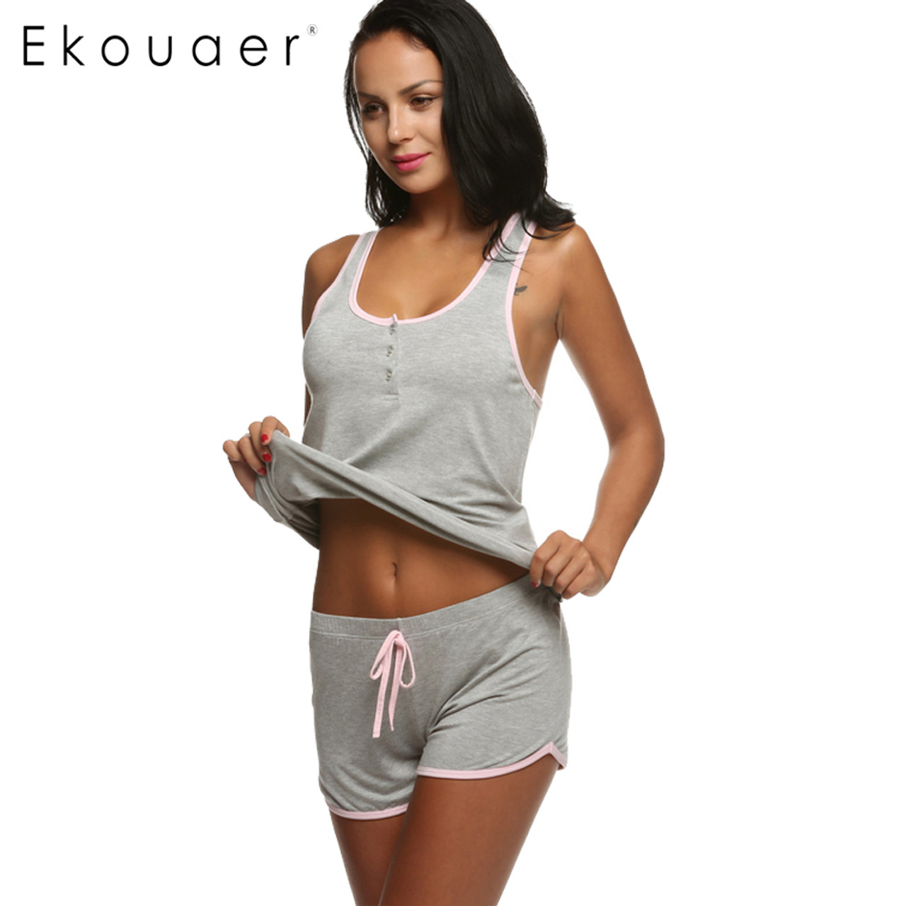 5450d20e1cf3 Ekouaer Women Short Sexy Pajamas Tank and Camisole Cami Set New Spring and  Summer Home Furnishing clothing Cotton Nightwear Suit - OnshopDeals.Com