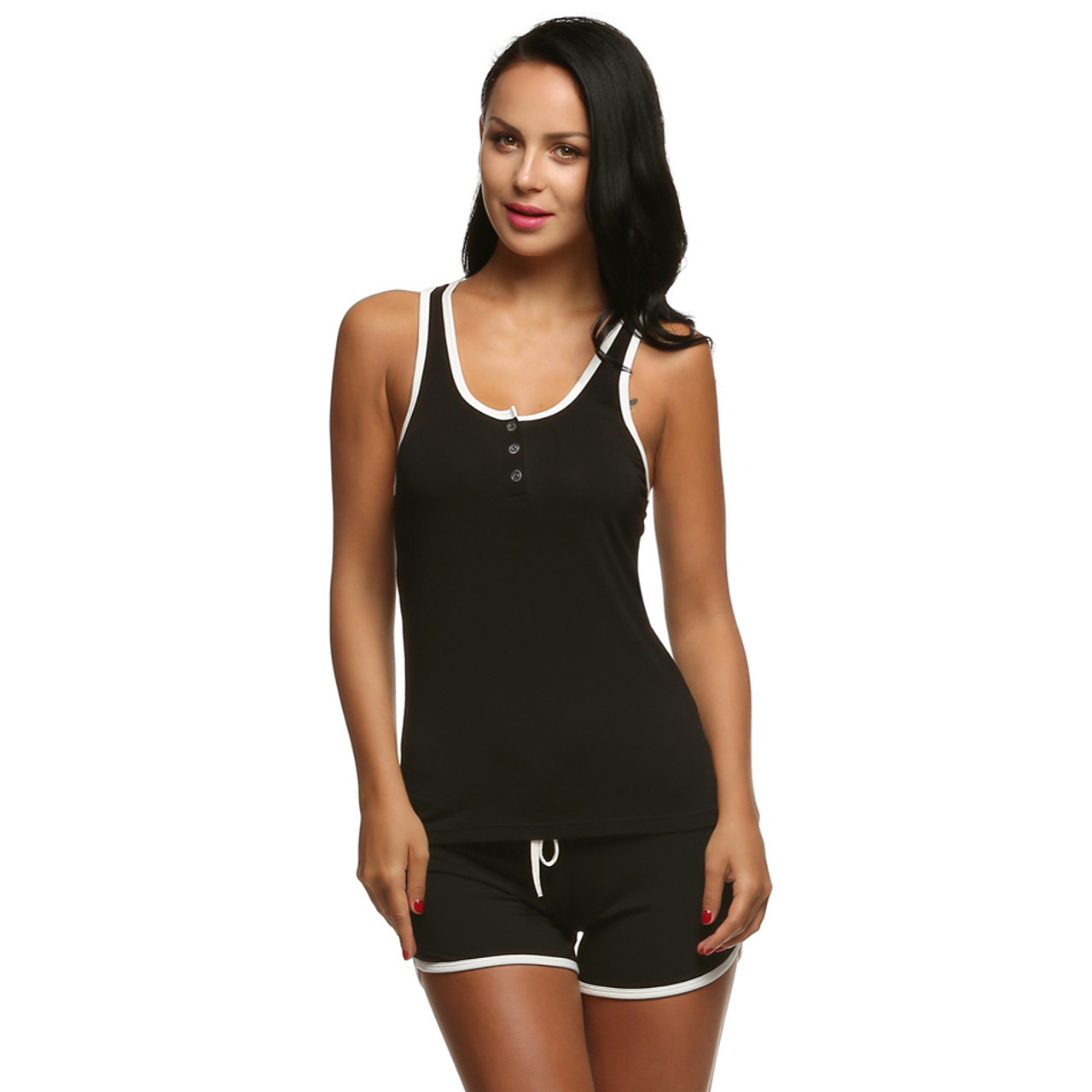 b886eee2e7a ... Ekouaer Women Short Sexy Pajamas Tank and Camisole Cami Set New Spring  and Summer Home Furnishing ...