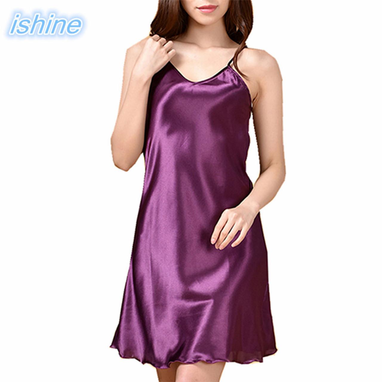 08a46e43c259 Satin Silk Nightwear Women Nightgowns Sexy V-neck Sleepwear Sleeping Dress  Red Nightdress 2018 Summer ...