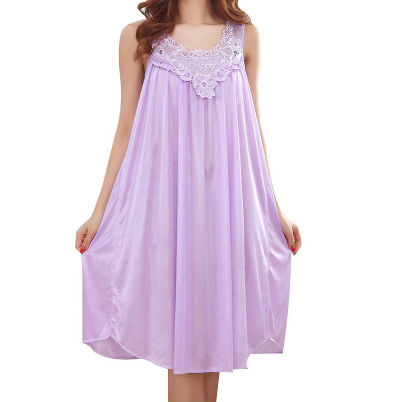 5257a1cb4f94 Wholesale 2017 Summer Imitation Silk Sexy Spaghetti Strap Nightgown Lace  Appliques Hem Home Wear Solid Nightgowns ...