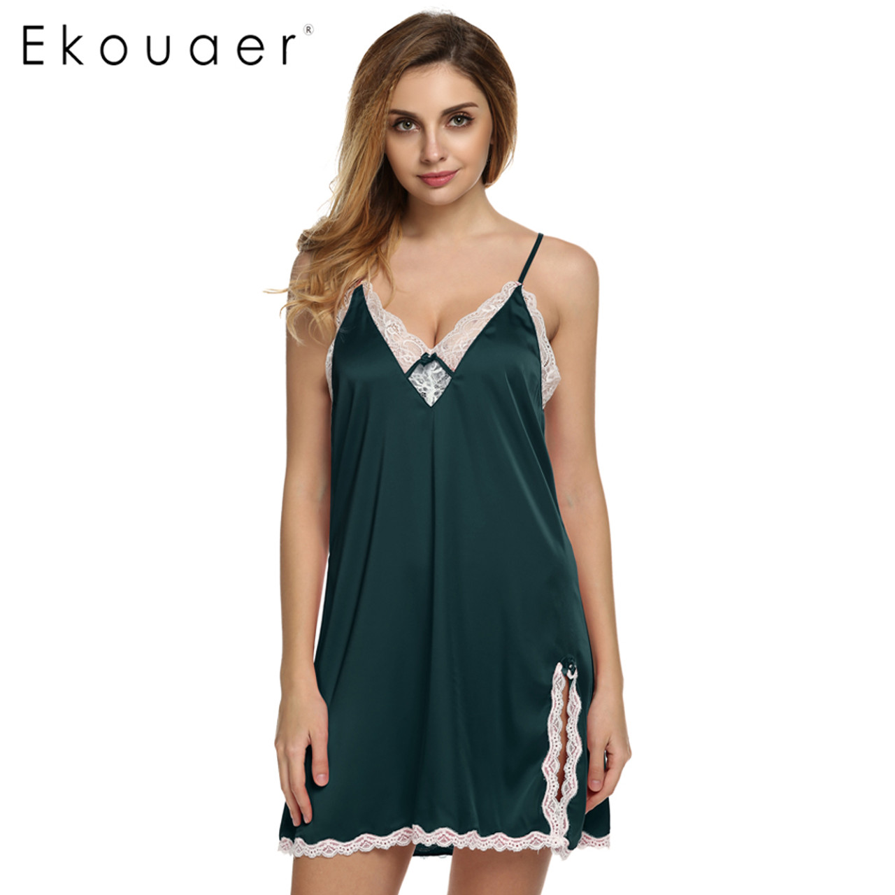 edf4f3098c9 Ekouaer sleep dress Sexy Satin Sleepwear Silk Nightgown Women Nightdress  Sexy Lingerie Plus Size S M L XL ...