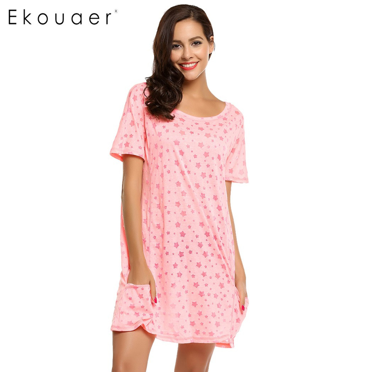 ... Ekouaer Brand Casual Loose Nightgown Summer Star Print Nightwear Home  Clothing Women O-Neck Short ... 6e662634a