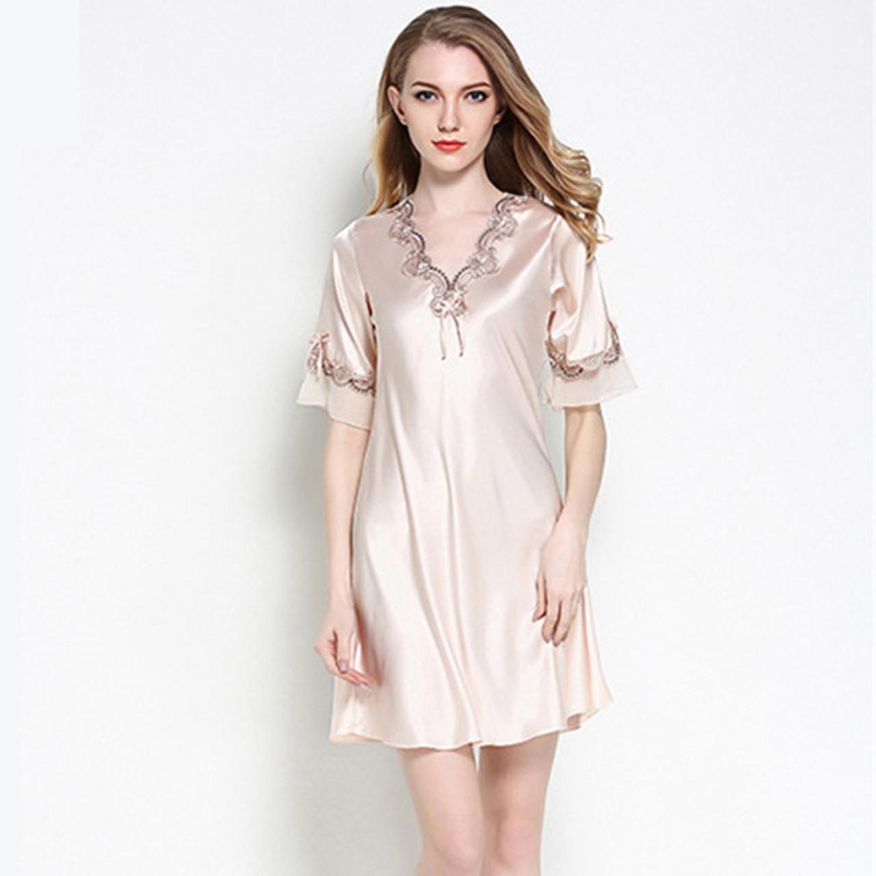 6309d226141 Women Silk Satin Nightgown Short Sleeve Sleepshirt V-neck Night Shirt  Elegant Night Dress Lace ...