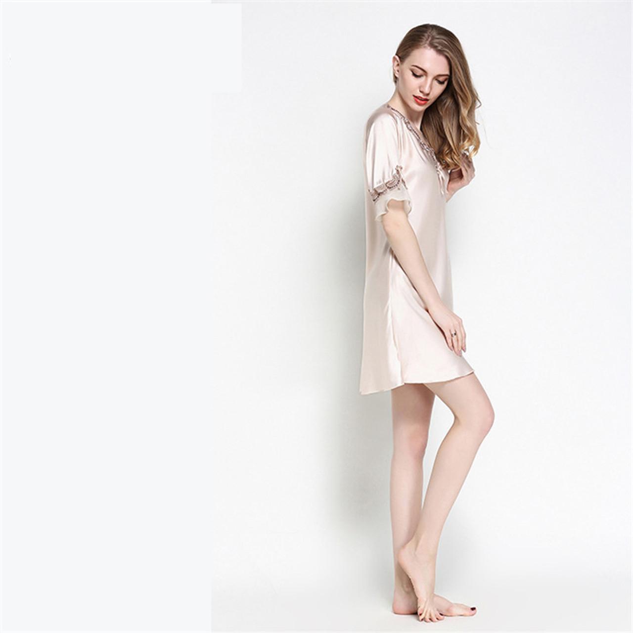 2d231c7d351 ... Women Silk Satin Nightgown Short Sleeve Sleepshirt V-neck Night Shirt  Elegant Night Dress Lace ...