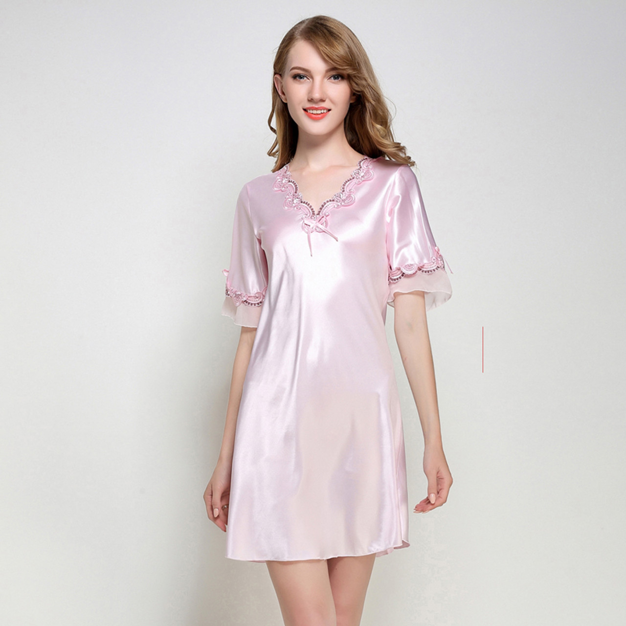 b9b867ea02 ... Women Silk Satin Nightgown Short Sleeve Sleepshirt V-neck Night Shirt  Elegant Night Dress Lace ...