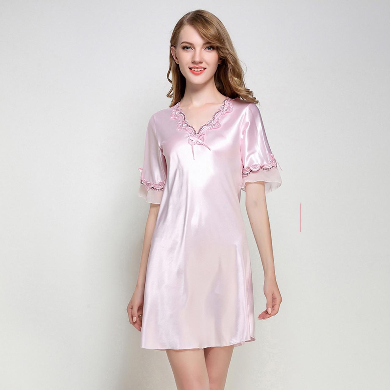 647af0be2e ... Women Silk Satin Nightgown Short Sleeve Sleepshirt V-neck Night Shirt  Elegant Night Dress Lace