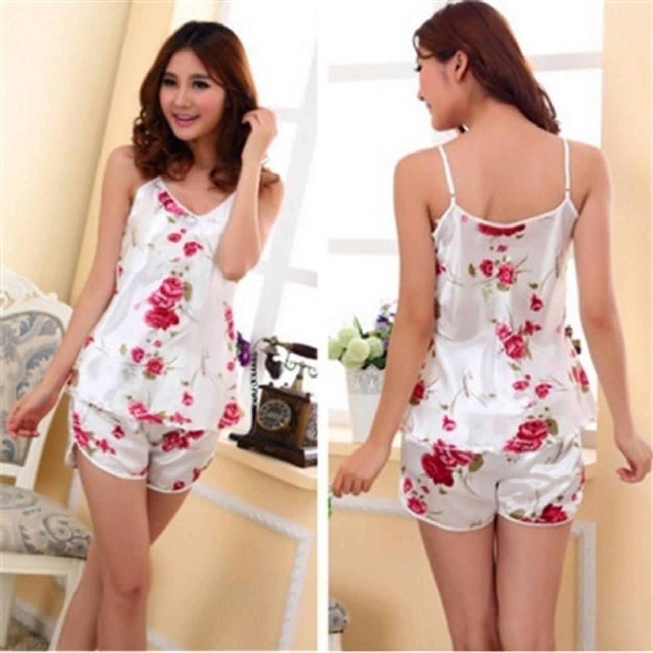 6e518ece79 Sexy Flower Sleepwear Braces Shirts + Shorts Underwear Pajamas Robes Set  for woman vetement femme - OnshopDeals.Com