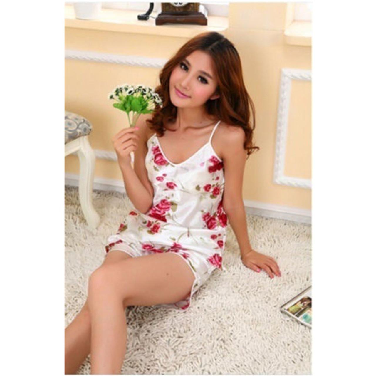 fc98a94c0d ... Sexy Flower Sleepwear Braces Shirts + Shorts Underwear Pajamas Robes  Set for woman vetement femme ...