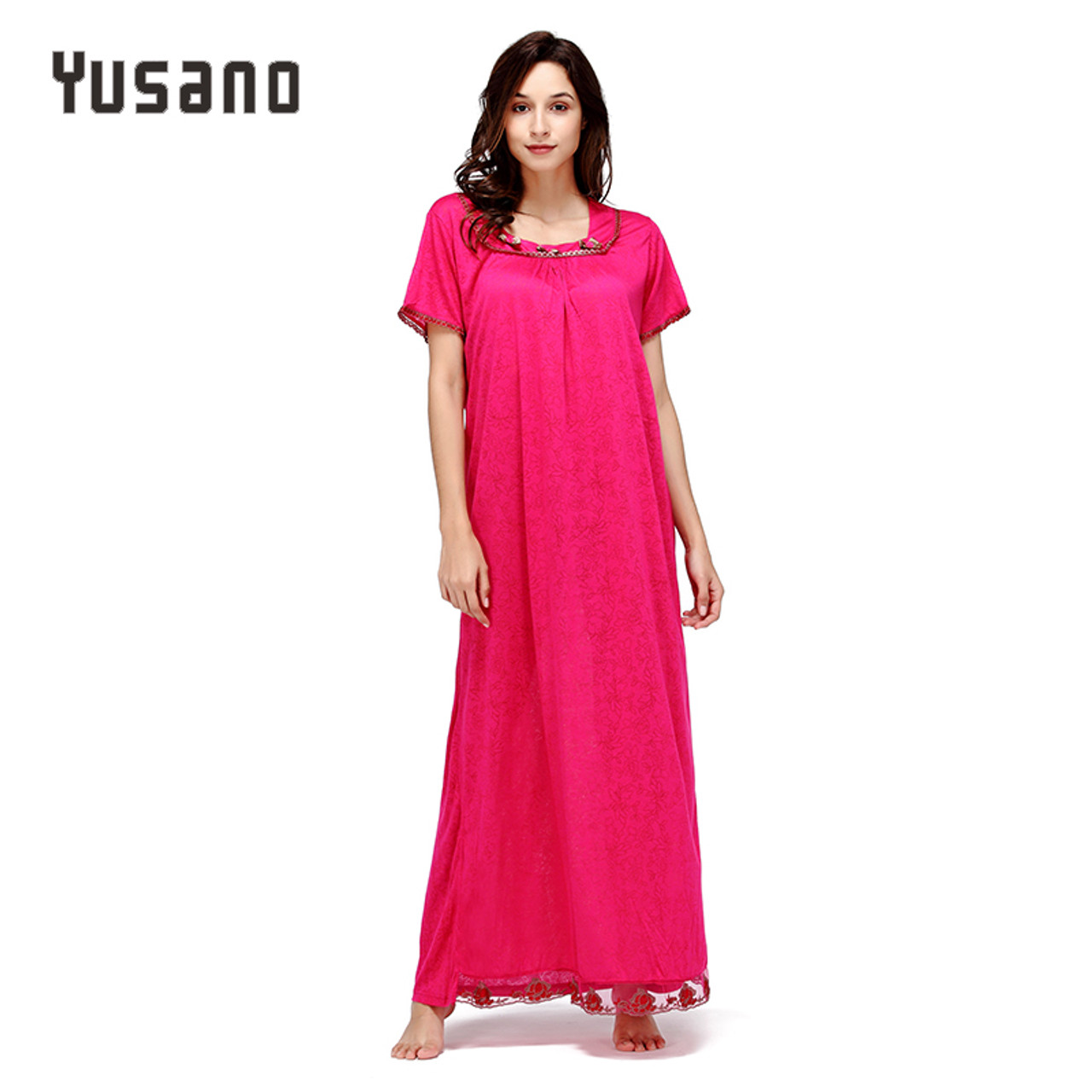 Yusano Women Long Nightgown Cotton Long Nightdress Loose Sleep Dress Casual  Home Clothe Nightshirt Lace Plus ... 731335aad
