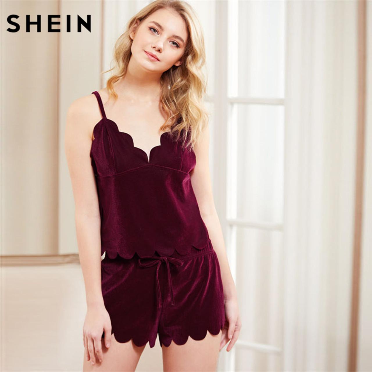 06f38855659 SHEIN Women Sleeping Summer Nightwear Pyjama Burgundy Spaghetti Strap  Scalloped Trim Velvet Cami Top  amp  ...