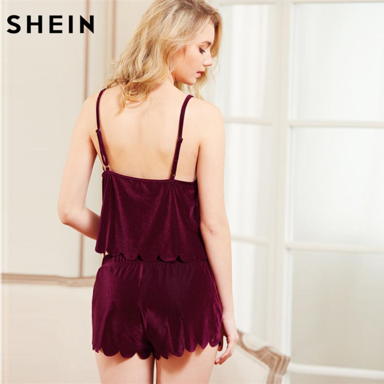 8058e663a4 ... SHEIN Women Sleeping Summer Nightwear Pyjama Burgundy Spaghetti Strap  Scalloped Trim Velvet Cami Top & ...