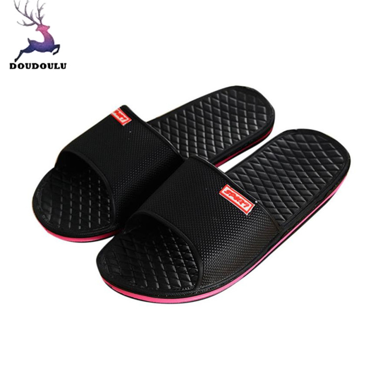cb5f8ae8504 Men Shoes Solid Flat Bath Slippers Summer Sandals Indoor  amp  Outdoor  Slippers Casual Men Non ...