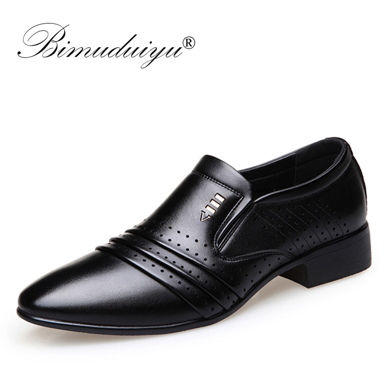 cd7096c688c ... BIMUDUIYU Luxury brand PU Leather Fashion Men Business Dress Loafers  Pointy Black Shoes Oxford Breathable Formal ...