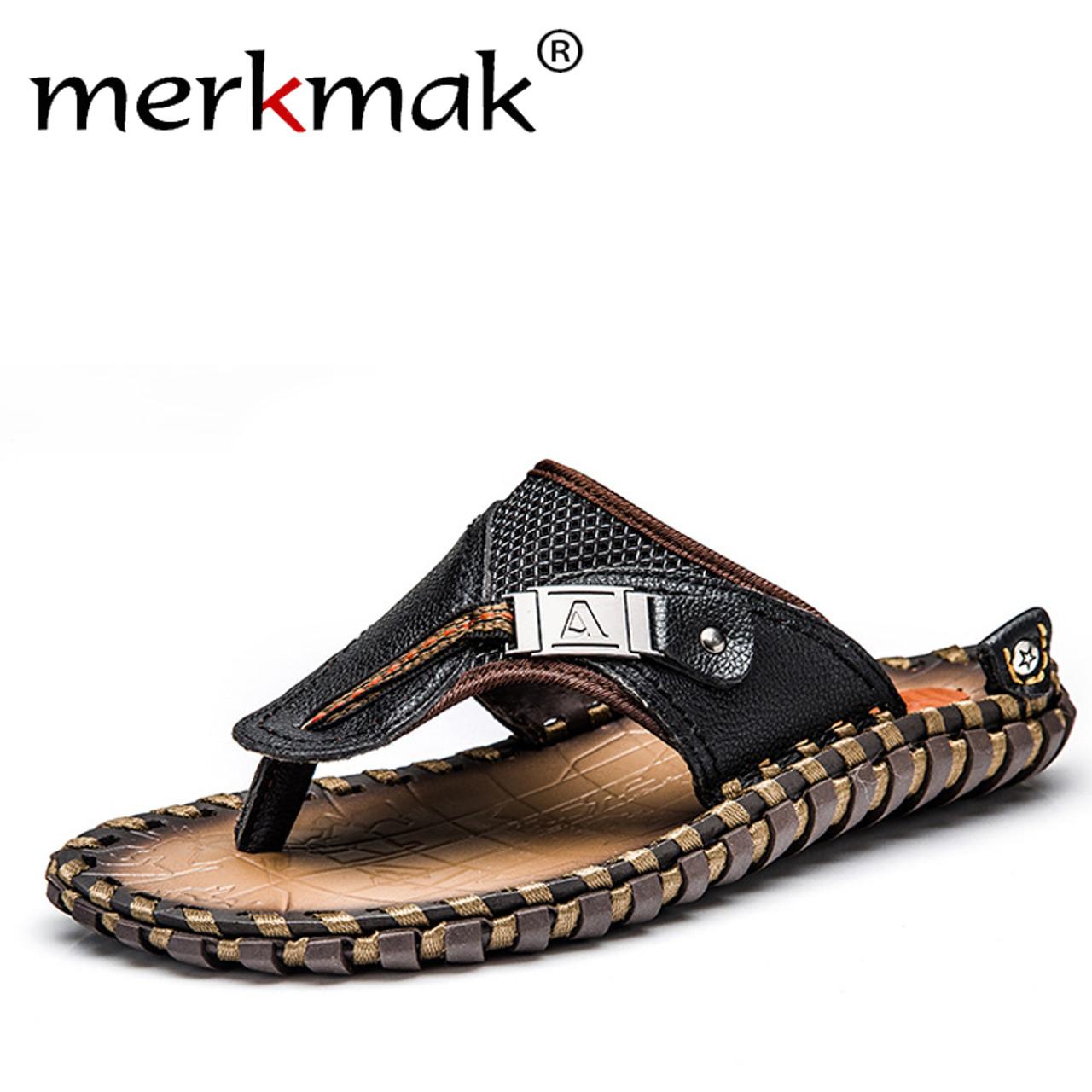 896e8ba574bba Merkmak Luxury Brand 2018 New Men s Flip Flops Genuine Leather Slippers  Summer Fashion Beach Sandals Shoes ...
