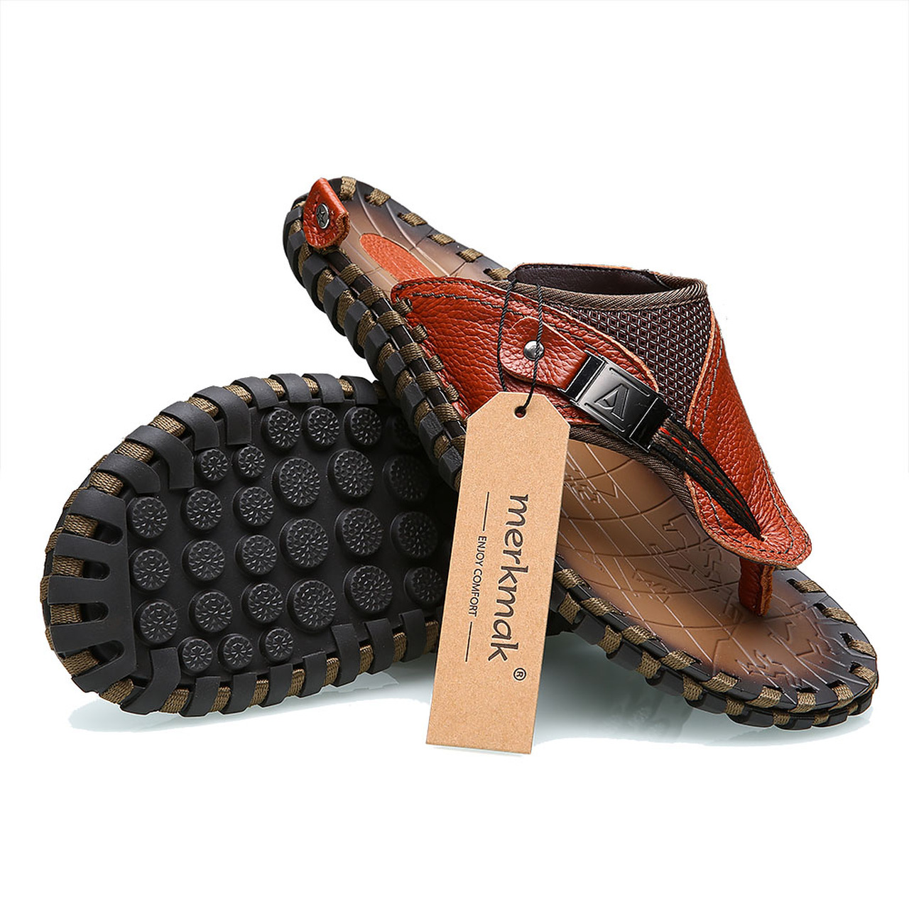 05a8e489ae12 ... Merkmak Luxury Brand 2018 New Men s Flip Flops Genuine Leather Slippers  Summer Fashion Beach Sandals Shoes ...