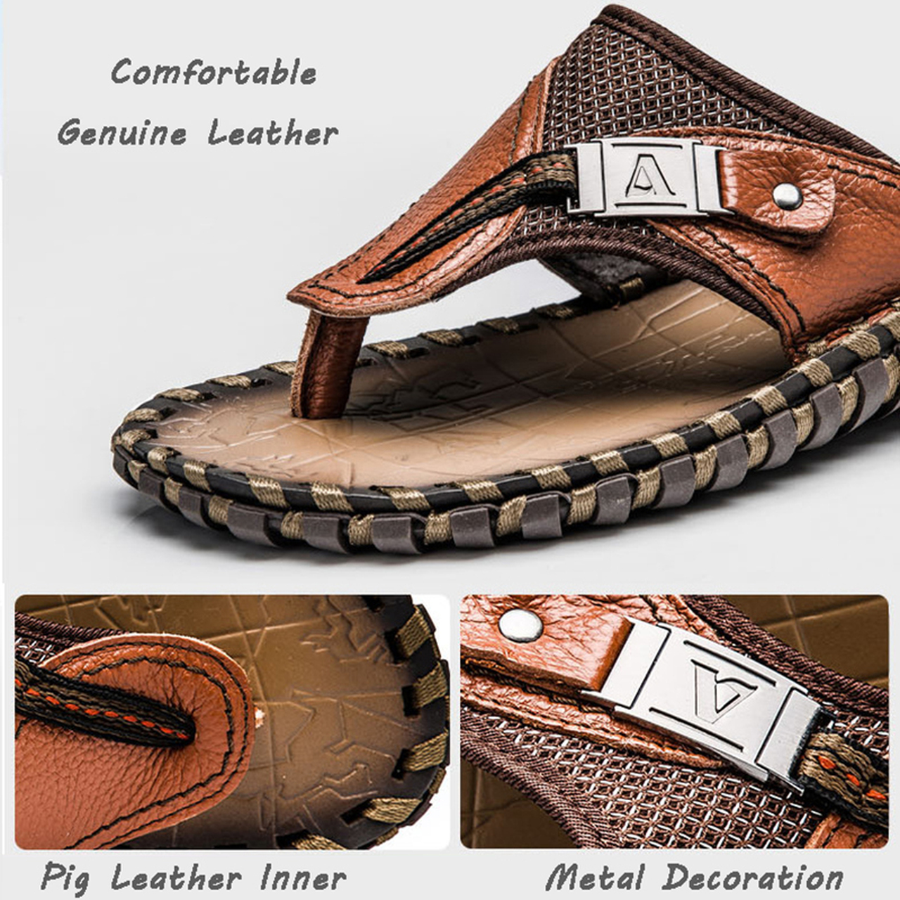 0818de68d470d8 ... Merkmak Luxury Brand 2018 New Men s Flip Flops Genuine Leather Slippers  Summer Fashion Beach Sandals Shoes ...