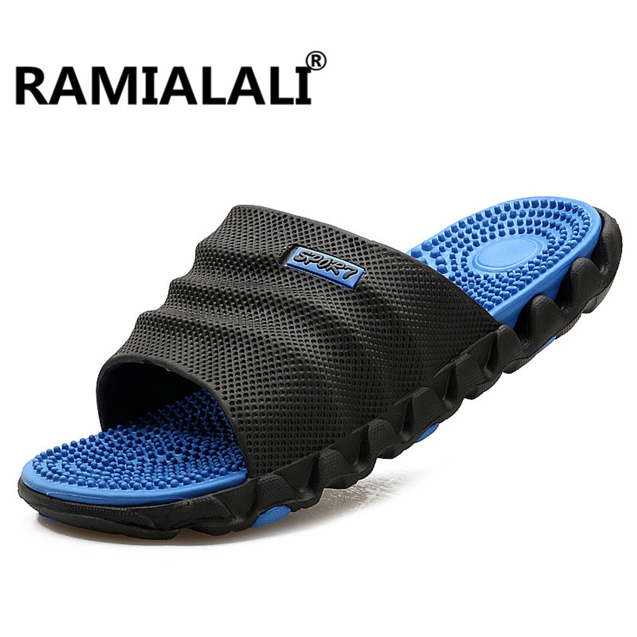 c153f3297 Ramialali Summer Slippers Men Casual Sandals Leisure Soft Slides Eva Massage  Beach Slippers Water Shoes Men s ...