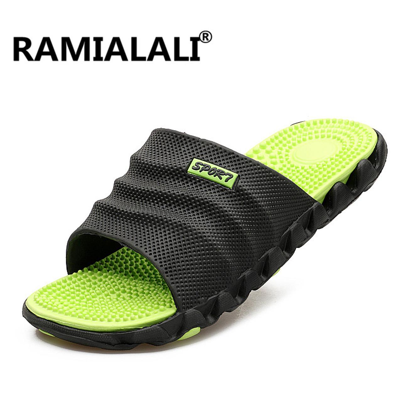 5b7b78708c64f ... Ramialali Summer Slippers Men Casual Sandals Leisure Soft Slides Eva  Massage Beach Slippers Water Shoes Men's ...