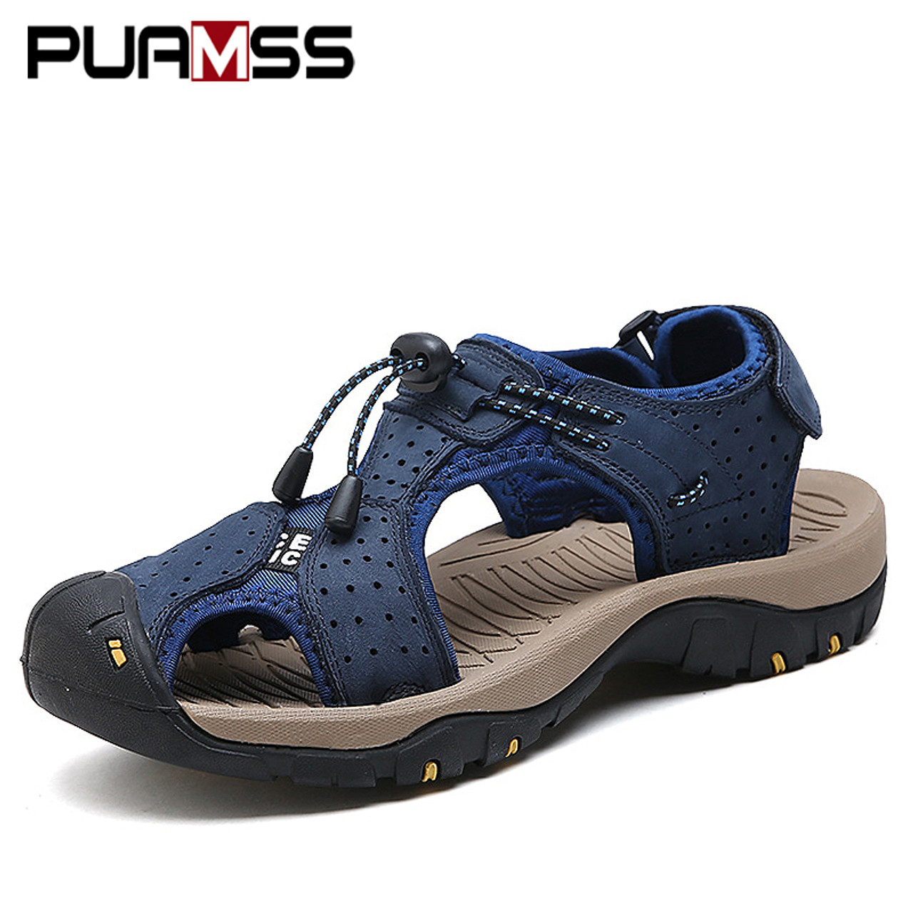 51f39acf452391 Men Sandals Genuine Leather Cowhide Male Summer Shoes Outdoor Beach Slippers  Casual Suede Leather Gladiator Sandals ...