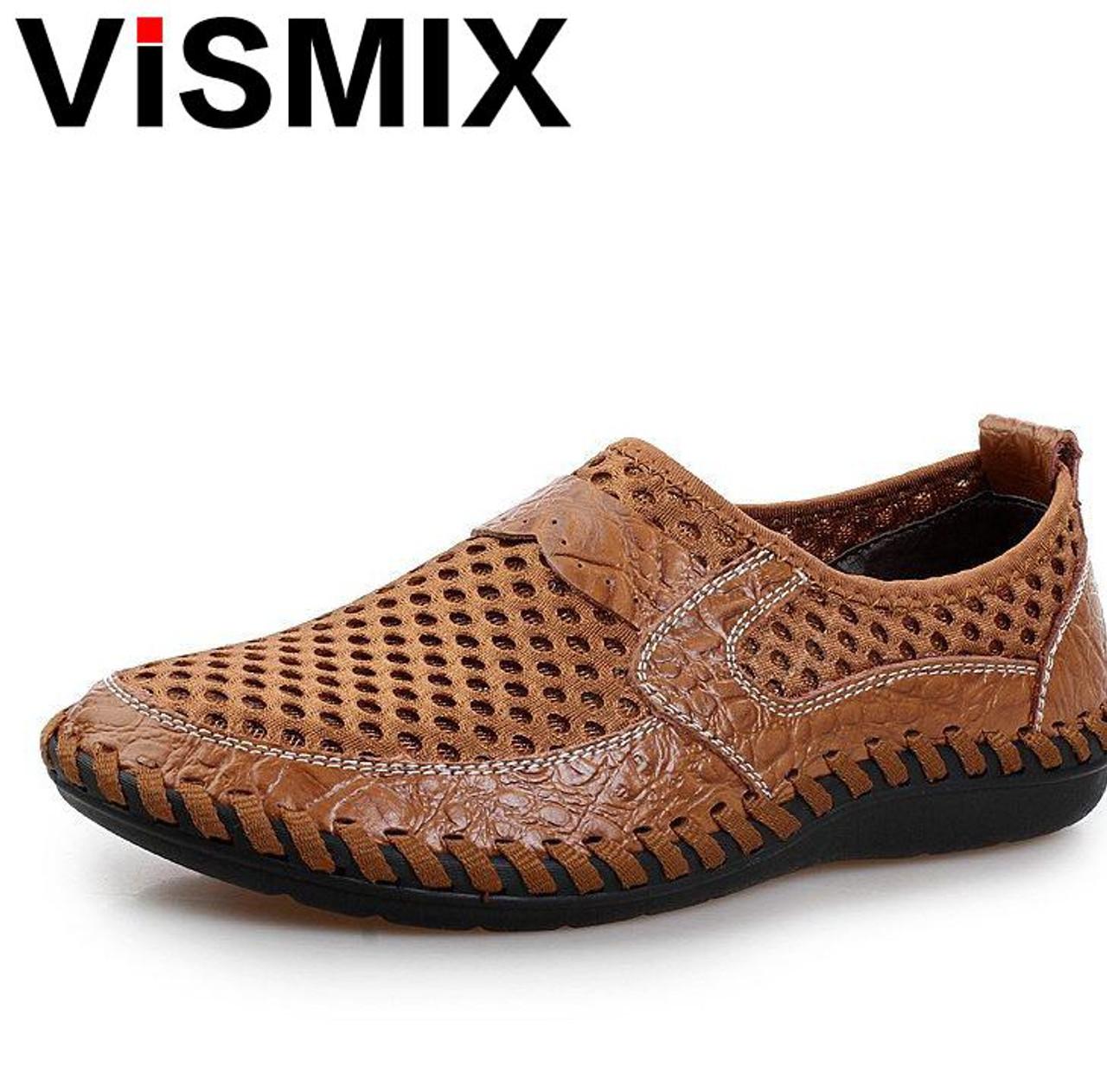 a6855eacca54 VISMIX Men Shoes 2018 Summer Breathable Mesh Shoes Mens Casual Shoes  Genuine Leather Fashion Summer Shoes ...