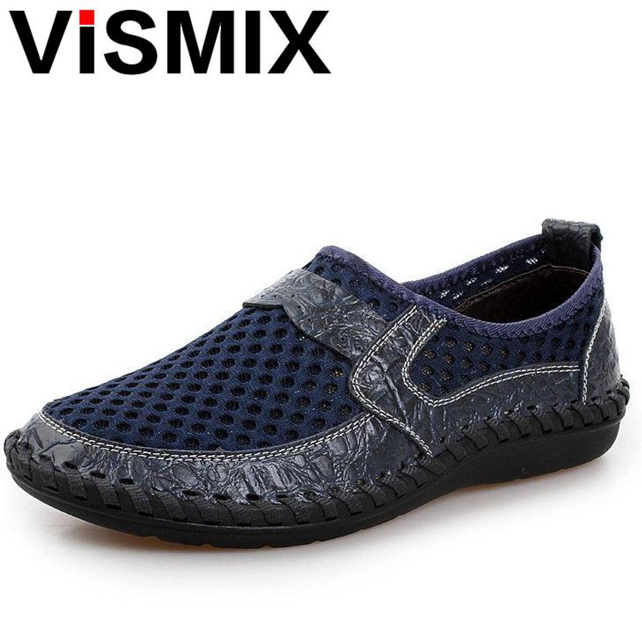 146ece63522c ... VISMIX Men Shoes 2018 Summer Breathable Mesh Shoes Mens Casual Shoes  Genuine Leather Fashion Summer Shoes ...