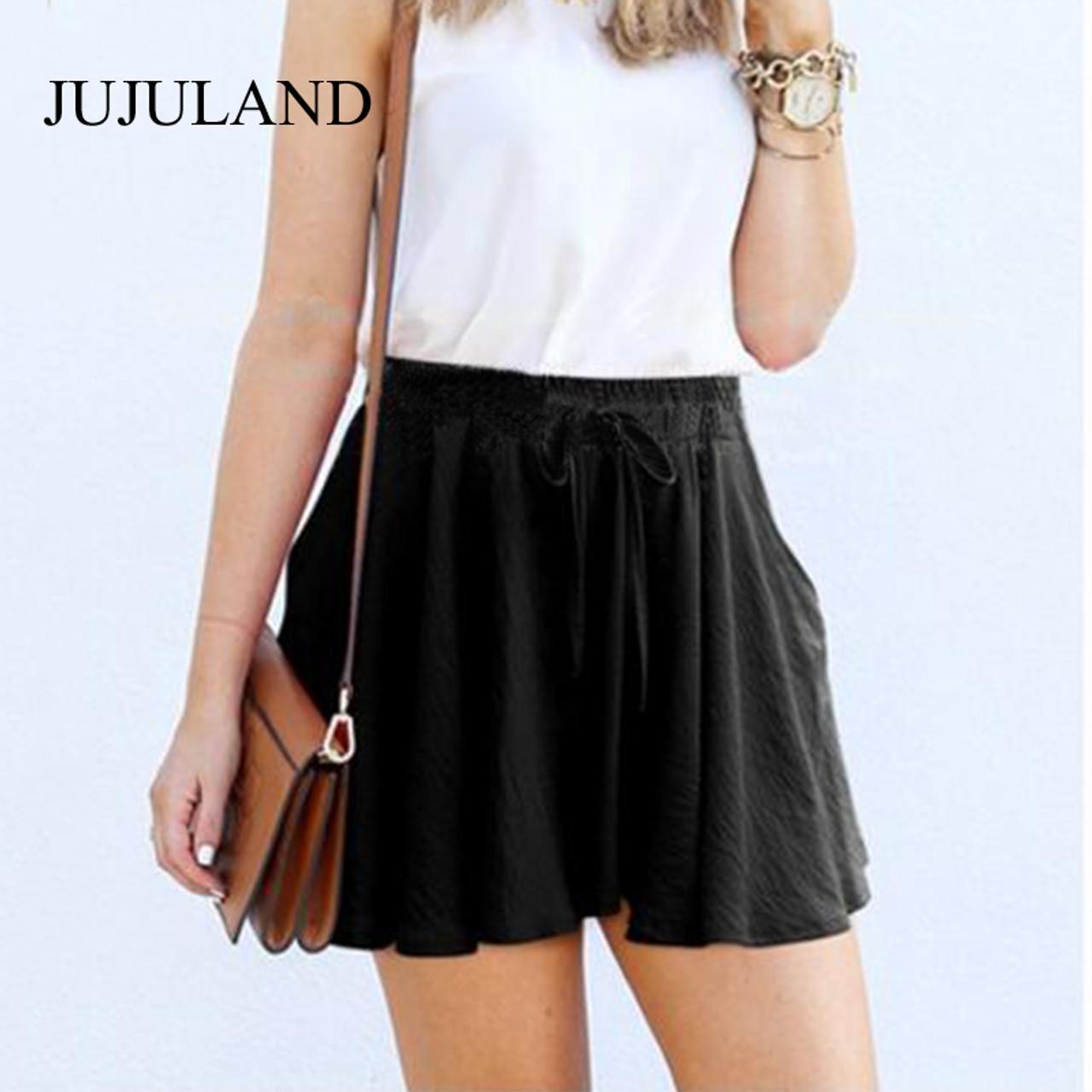 e64c645ba2 5XL Plus Size Shorts Women Loose Casual High Waist Shorts Cotton Wide Leg Black  Shorts 2018 ...
