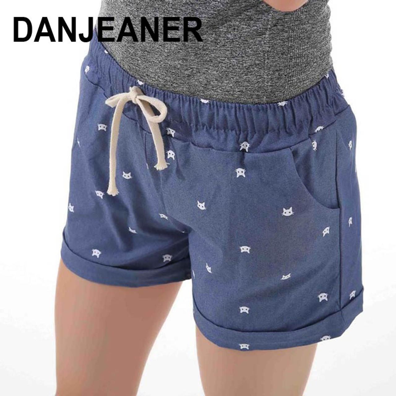 d65520944 2017 Brand New Summer Women Casual Elastic Waist Cotton Shorts Printed Cat  Drawstring Slim Shorts Candy ...