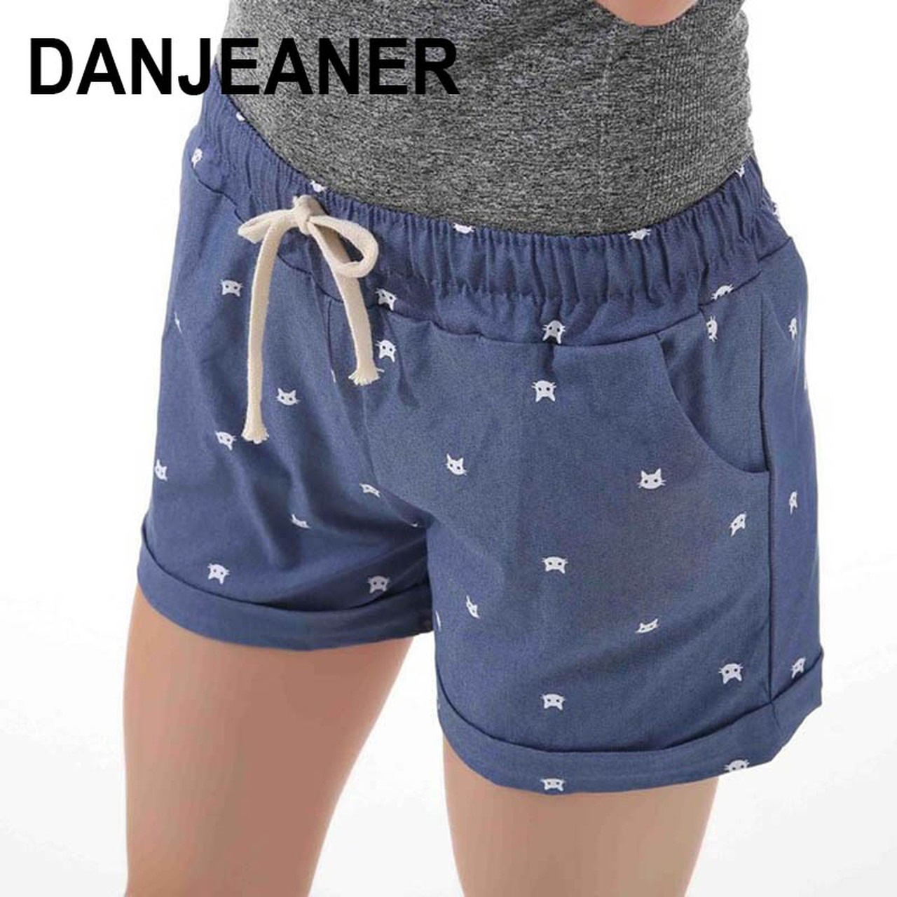 2017 Brand New Summer Women Casual Elastic Waist Cotton Shorts Printed Cat Drawstring Slim Shorts Candy Colors Women Shorts Onshopdeals Com