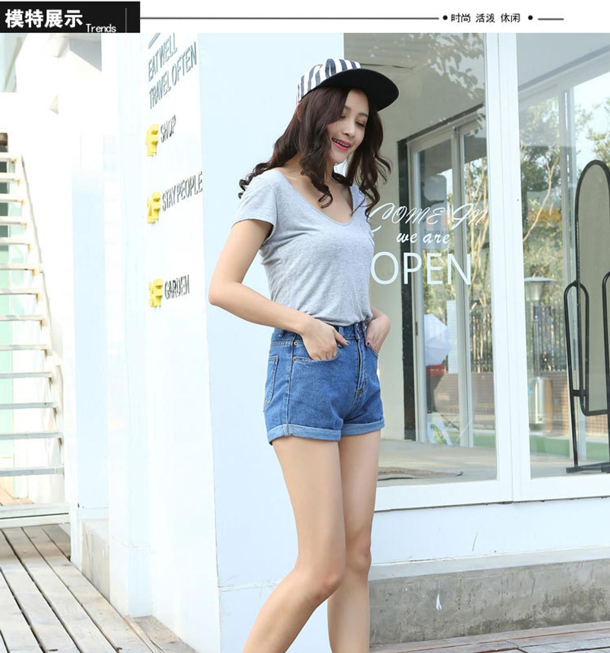 697b9e1367d ... Casual 2016 New Korean Style Summer Vintage High Waisted Denim Women  Shorts Plus Size Slim Stretch ...