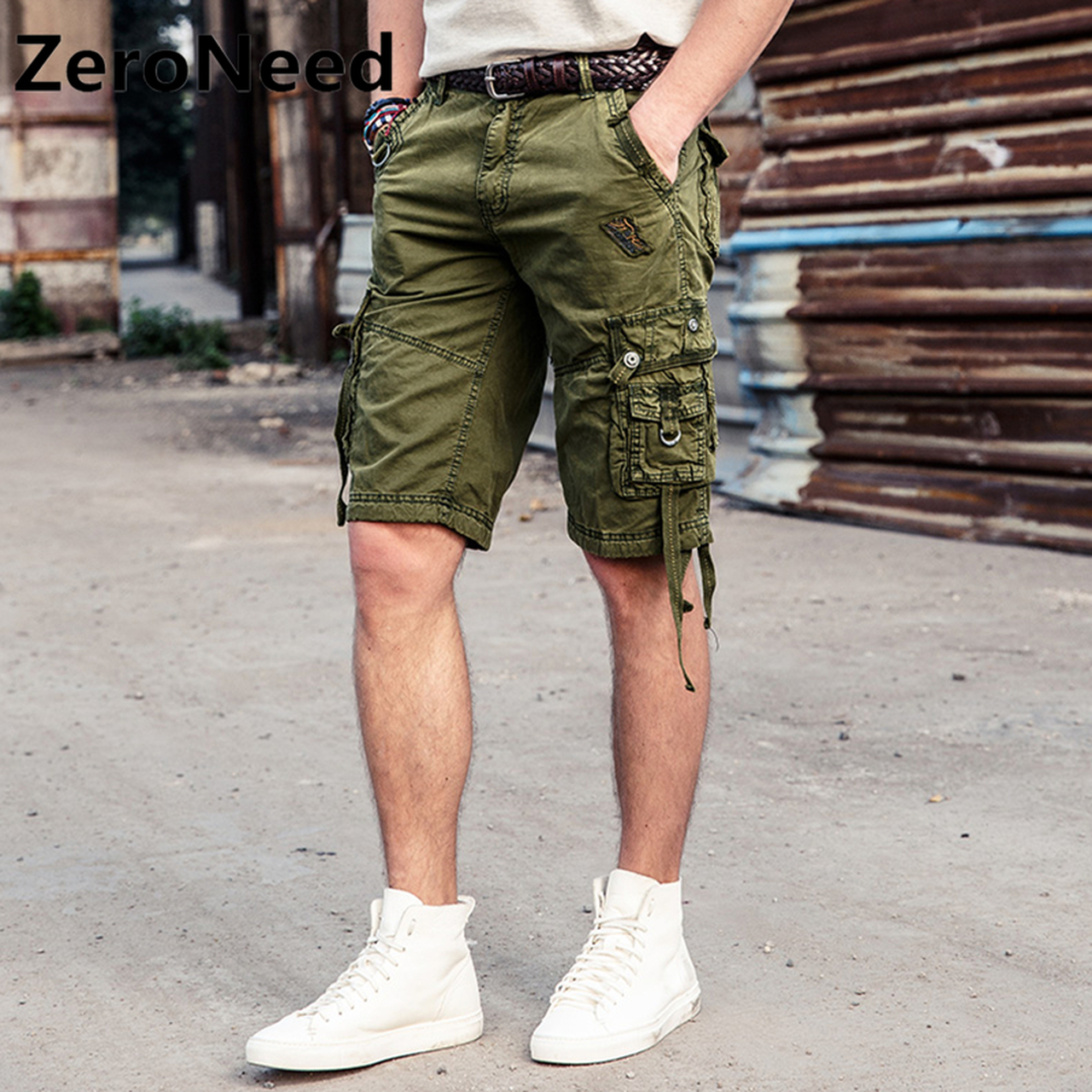 2f19f970c7 Cargo Shorts Mens 2017 New Summer Cotton Shorts Men Casual Knee Length Plus  Size Comfortable Fashion ...