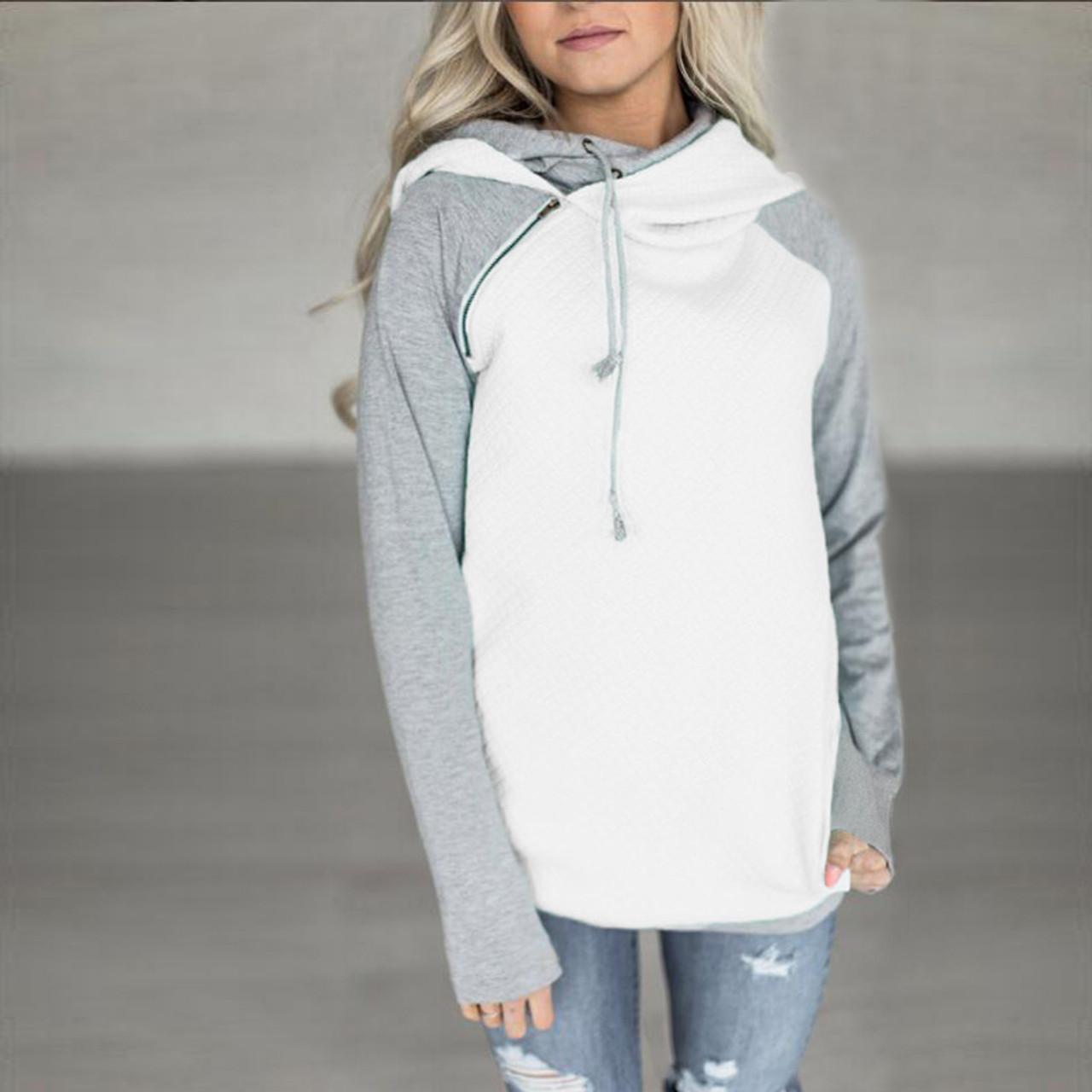 b55650b82 Oversize Hoodies Sweatshirts Women Pullover Hoodie Female Patchwork Double  Hood Hooded Sweatshirt Autumn Coat Warm Hoody XXXL