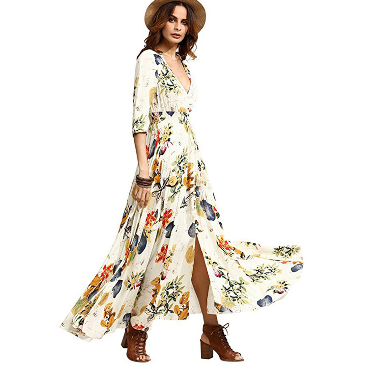afb5463948cb ... Bohemia Floral Print Long Women Dress Beach Ladies Sexy Summer Button Boho  Maxi Dress Vintage Party