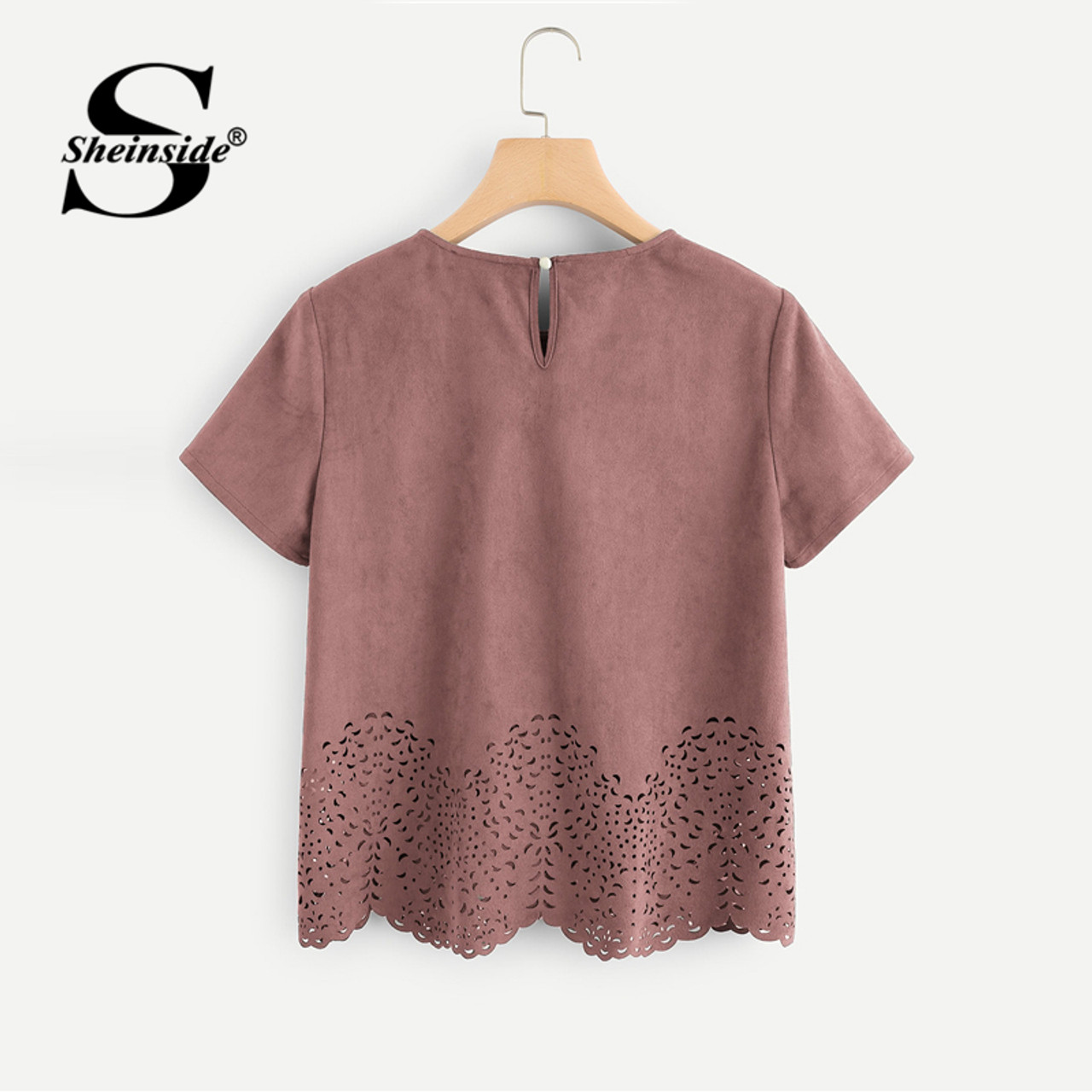 bf9a9c6f3b ... Sheinside Pink Scallop Laser Cut Out Blouse Solid Button Back Short  Sleeve Top 2018 Summer Women ...