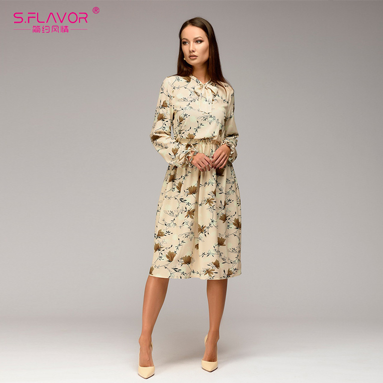 S.FLAVOR Women casual knee-length dress 2018 new arrival long sleeve printing  summer dress for offical lady Women loose vestidos - OnshopDeals.Com 5c3951eb9