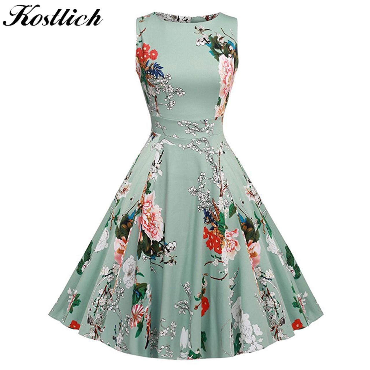 2184291db2827 Kostlich Floral Print Summer Dress Women 2018 Sleeveless Tunic 50s Vintage  Dress Belt Elegant Rockabilly Party Dresses Sundress