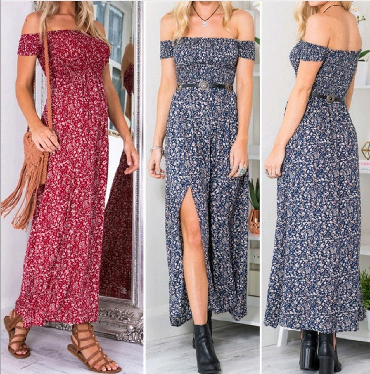 b0b87c9c1c9 ... Sexy Strapless Beach Summer Dress Sundresses Vintage Bohemian Maxi Dress  Robe Femme Boho Floral Women Split ...