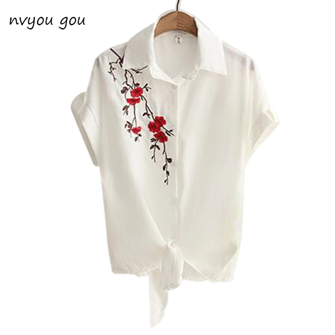 764e36e4162 2018 Top Summer Women Casual Tops Short Sleeve Embroidery White Top Blouses  Shirts Sexy Kimono Loose ...