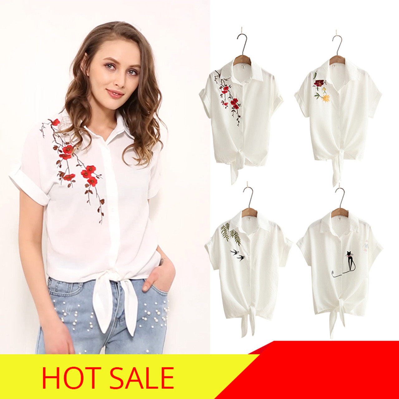 6af349cdae956 ... 2018 Top Summer Women Casual Tops Short Sleeve Embroidery White Top  Blouses Shirts Sexy Kimono Loose ...