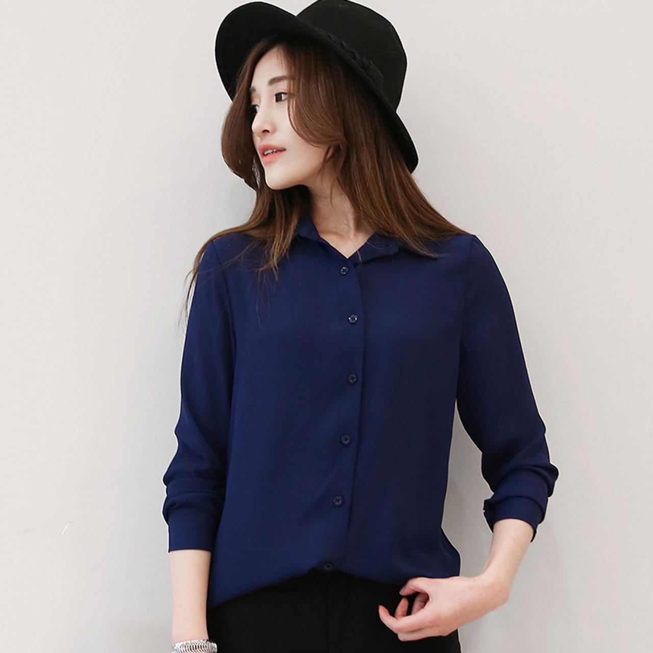 e327faea ... 2018 Hot Sale Women Shirts Blouses Long Sleeve Turn-Down Collar Solid Ladies  Chiffon Blouse ...
