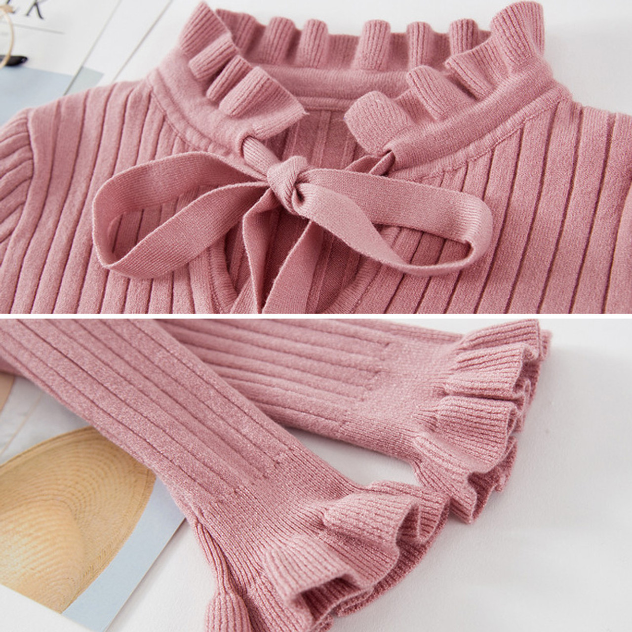 8e26e8923f ... Casual Slim Sweater Women 2018 Autumn Spring Knitted Sweater Lace Up  Flare Long Sleeve Ruffle Knitting ...