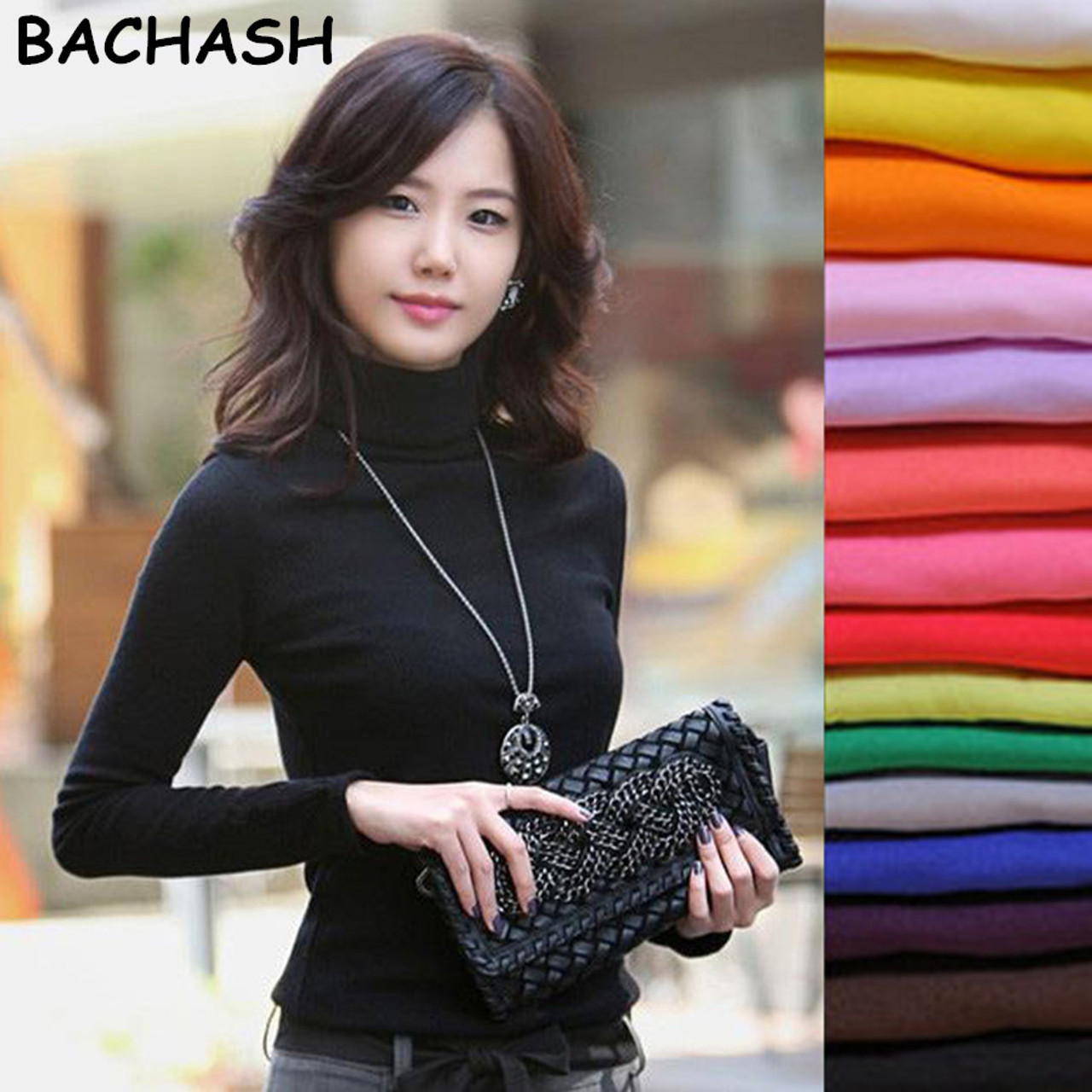d8bf8a8552 BACHASH 2018 High Quality Fashion Spring Autumn Winter Sweater Women Wool  Turtleneck Pullovers Fashion Women s Solid Sweaters - OnshopDeals.Com