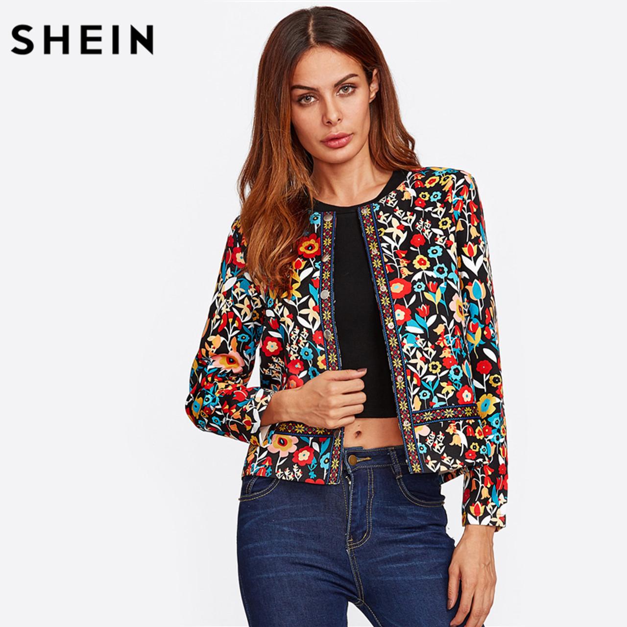 45cb3fb42d SHEIN Press Button Placket Botanical Jacket Autumn Jacket for Women  Multicolor Collarless Single Breasted Elegant Jacket ...
