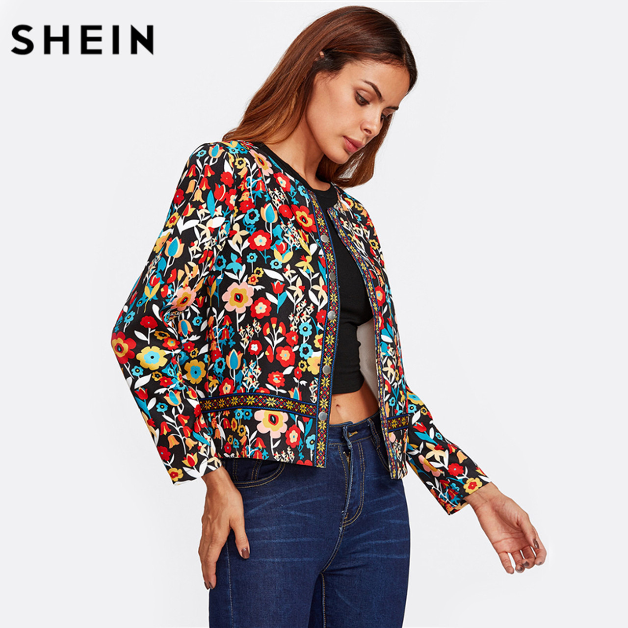 4d938a8355 ... SHEIN Press Button Placket Botanical Jacket Autumn Jacket for Women  Multicolor Collarless Single Breasted Elegant Jacket ...