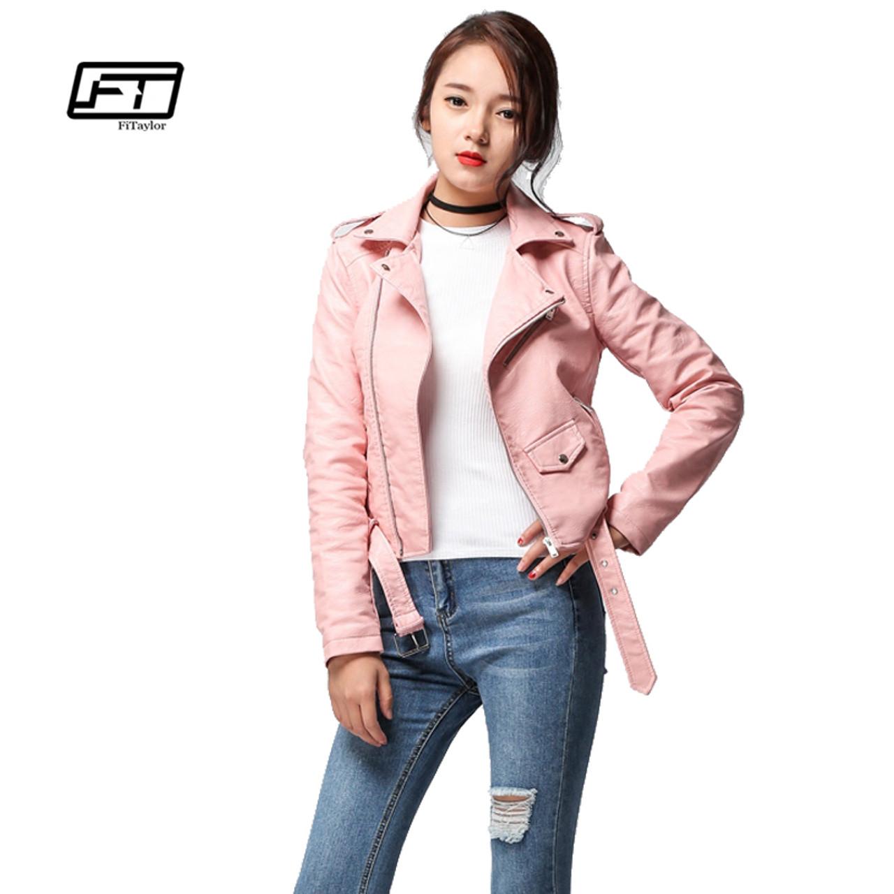 49c289d57b Fitaylor 2018 Spring Autumn Women Faux Soft Leather Jacket Long Sleeve Pink Biker  Coat Zipper Design ...