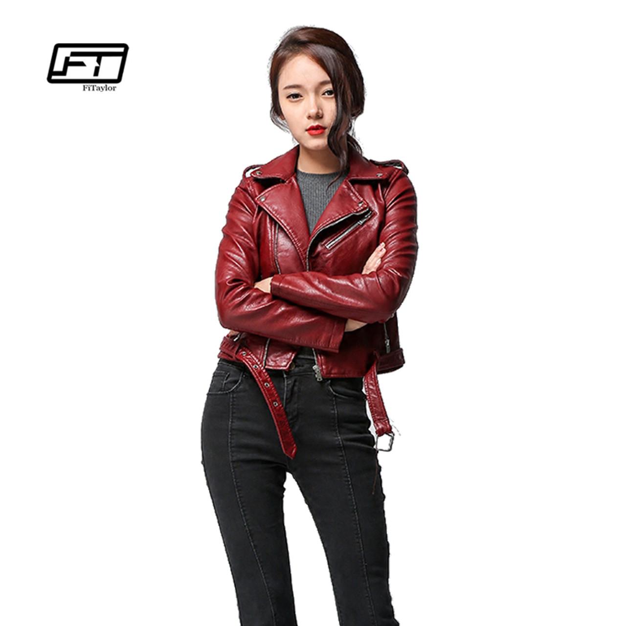 9a025996a301 ... Fitaylor 2018 Spring Autumn Women Faux Soft Leather Jacket Long Sleeve  Pink Biker Coat Zipper Design ...