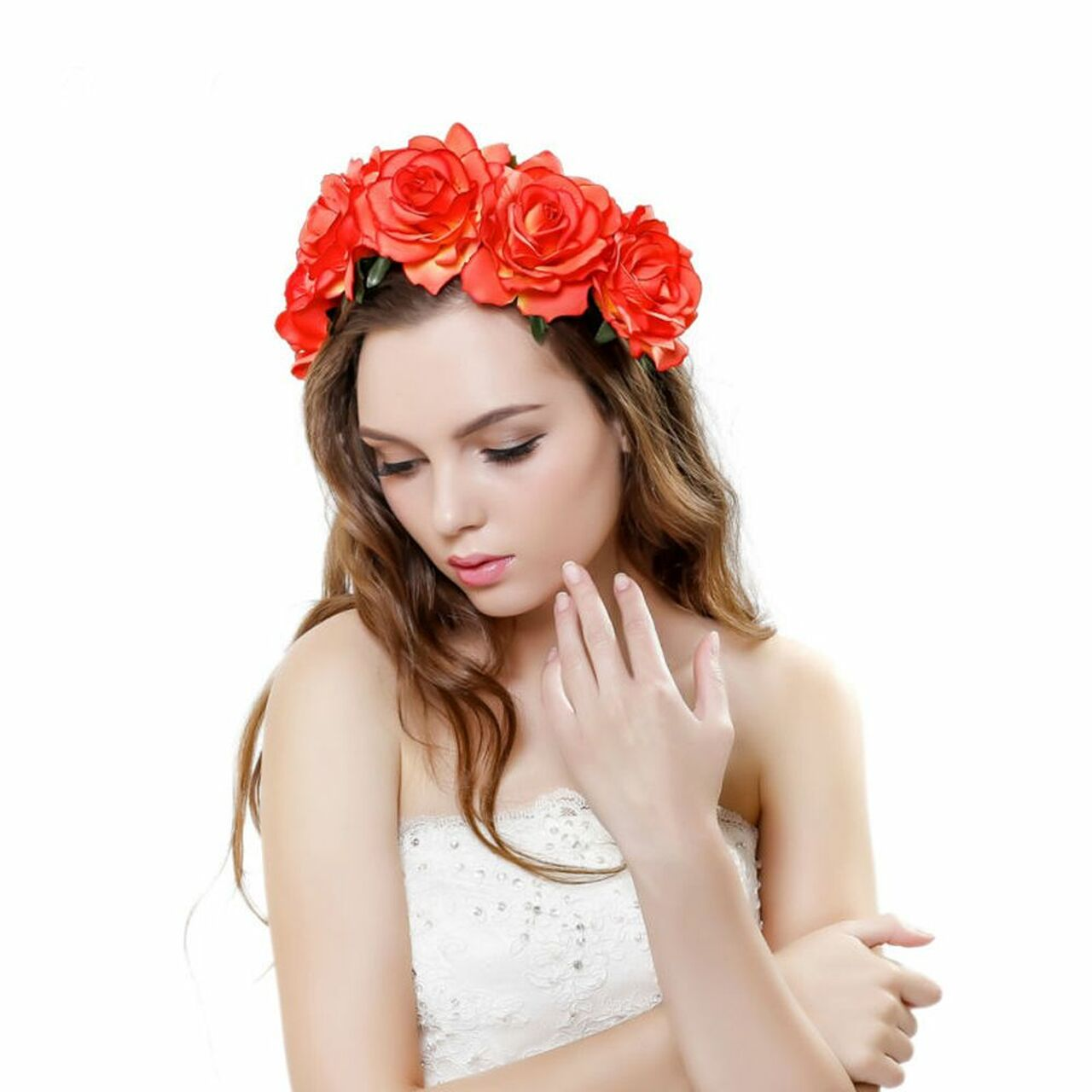 241731e23d4 ... 2018 New Spring Fashion Women Lady girls Wedding Flower Wreath Crown  Headband Floral Garlands Hair band ...