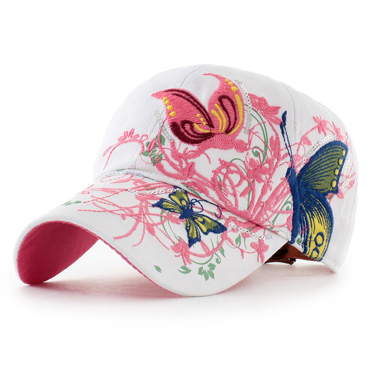 1009a0c3a Women Butterflies Flower Embroidery Caps Women Girl Sun Hats Casual  Snapback Caps Women Baseball Cap Winter Autumn