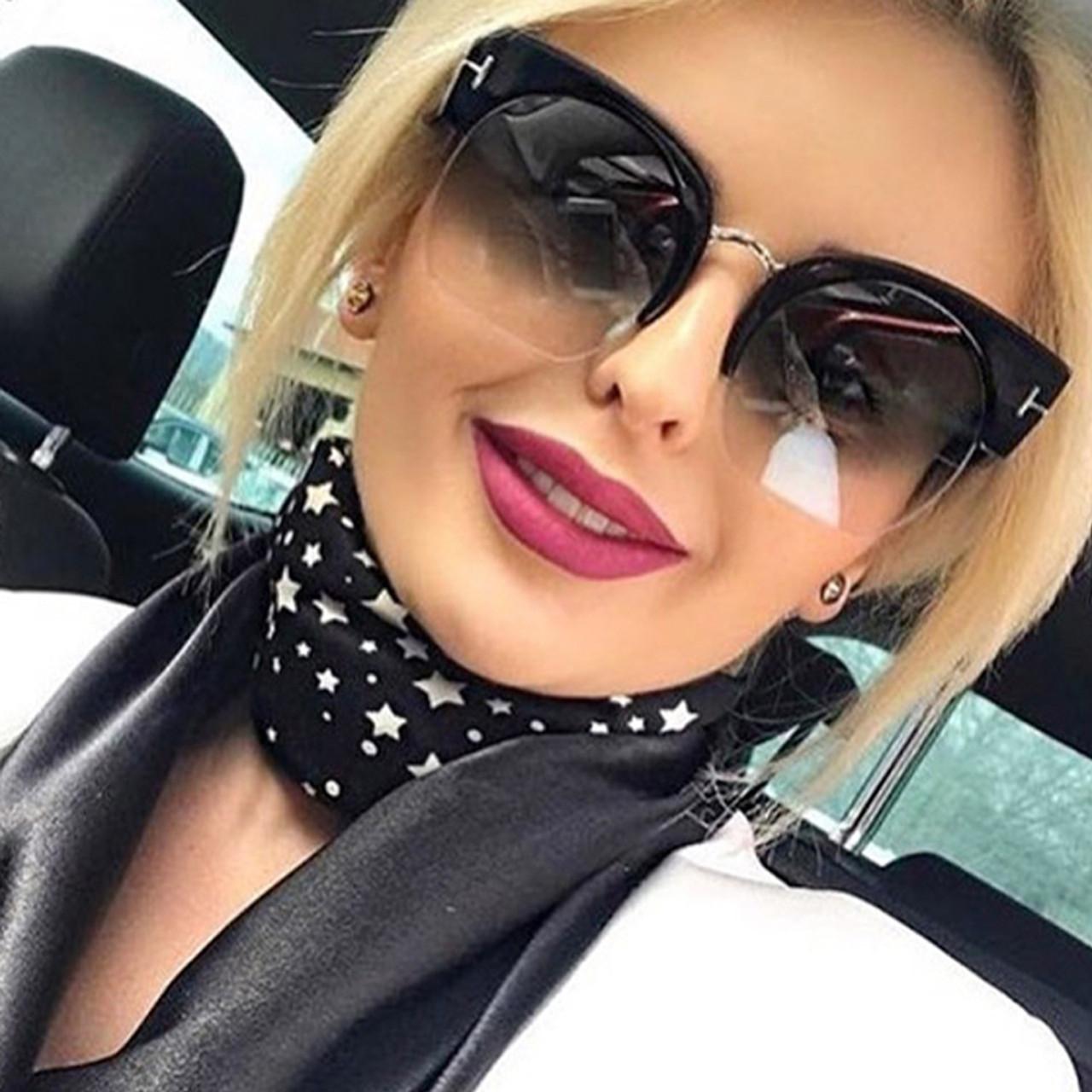 1e3ca968c9 RSSELDN Newest Semi-Rimless Sunglasses Women Brand Designer Clear Lens Sun  Glasses For Women Fashion ...