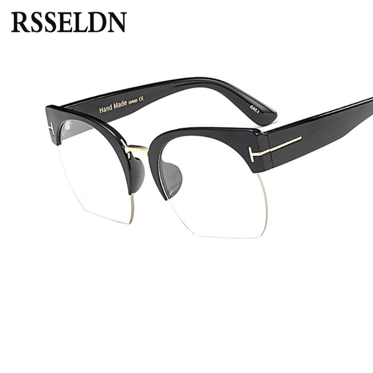 16cf307c029 ... RSSELDN Newest Semi-Rimless Sunglasses Women Brand Designer Clear Lens  Sun Glasses For Women Fashion ...
