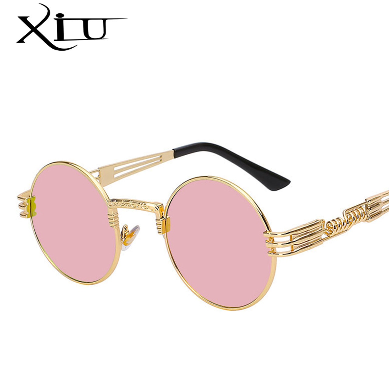 5011cc18a3 ... Gothic Steampunk Sunglasses Men Women Metal WrapEyeglasses Round Shades  Brand Designer Sun glasses Mirror High Quality ...